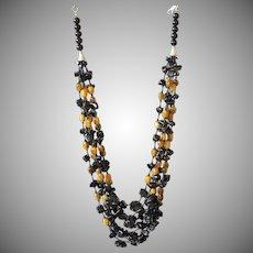 Tiger Eye, Black Obsidian with Black Obsidian Flowers Necklace