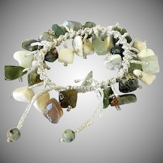 Howlite bracelet with Rutilated Quartz and Green Agate