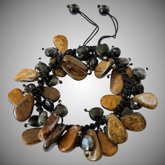 Bronzite with Black Turmaline Rutilated Quartz Bracelet