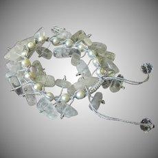 Crackled Quartz with White Cultured Freshwater Pearls Bracelet