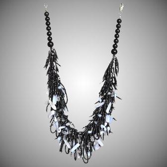Blue Lace Agate and Clear Quartz Necklace