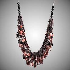 Tourmaline and Pink Opal Necklace with Freshwater Pearls