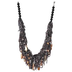 Freshwater cultured Pearls with Black & Brown Seed Beads Necklace