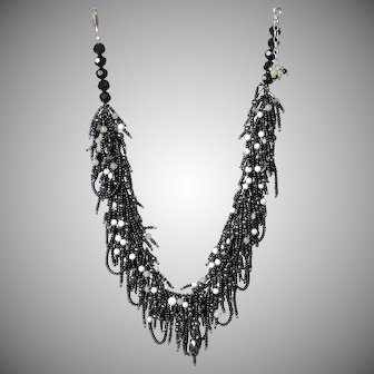Black Seed Beads Necklace with Howlite and Hematite