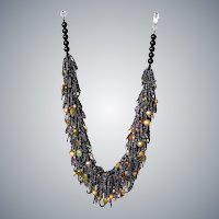 Green Garnet, Amethyst and Freshwater cultured Pearls Necklace with metallic color seed beads