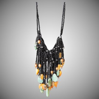 Black Seed Beads Necklace with Emeralds, Freshwater cultured Pearls, Yellow Aventurine