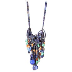 Blue, Purple, Green Seed Beads Necklace with Turquoise, Golden color Freshwater cultured Pearls, Hesonite.
