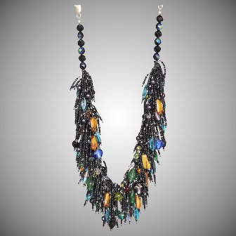 Black Seed Beads Necklace with multicolour fancy glass beads