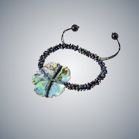 Abalone Shell Flower Bracelet with Colourful Glass Seed Beads
