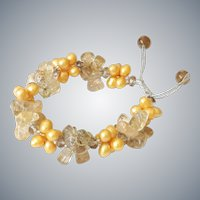 Rutilated Quartz and cultured Freshwater Pearls Bracelet