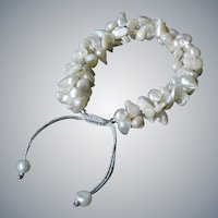 White freshwater cultured blister pearls bracelet, adjustable