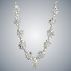 White Cultured Freshwater Pearl Necklace with Crackled Quartz and Carved Mother of Pearl