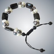 Black Onyx and Pearls Bracelet, with cultured Black and White Pearls