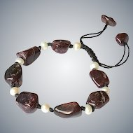 Rubellite Bracelet with white cultured freshwater Pearls