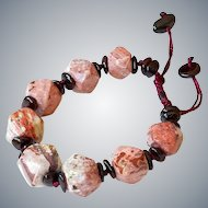 Russian Pink Agate with Garnet Bracelet