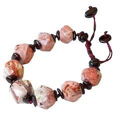 Russian Pink Agate with Garnet Bracelet