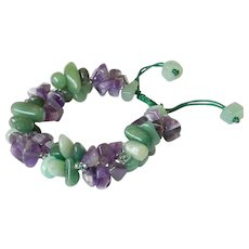 Amethyst and Green Aventurine Bracelet