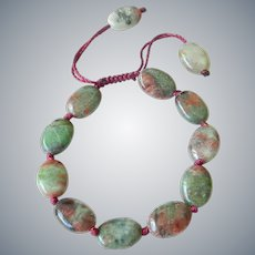 Green-Red Garnet Bracelet, adjustable