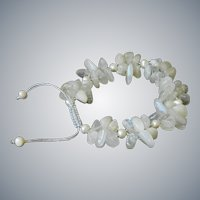 Moonstone Bracelet with Freshwater Cultured Pearls