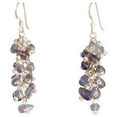 """Iolite Earrings Teardrop Shape Dark Gray Purple Blue 1.5"""""""