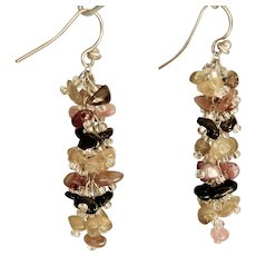 Watermelon Tourmaline Earrings 2 inch