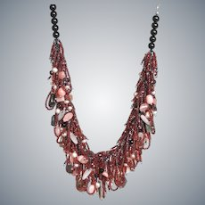 Seed Beads Necklace with Tourmaline, cultured Pearls Pink Opal, Rose Quartz, Garnet