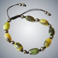 Chinese Chrysoprase Bracelet with Hematite
