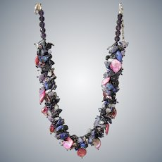 Mother of Pearl Necklace with cultured Pearls, Lapis Lazuli, Amethyst, Sodalite