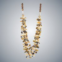 Golden and Brown Cultured Freshwater Pearl Necklace with Citrine and Smoky Quartz