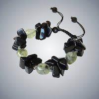 Black Obsidian Bracelet with Green Rutilated Quartz