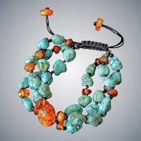 Turquoise Bracelet with Baltic Amber, triple stranded, adjustable
