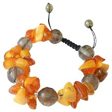 Baltic Amber and Smoky Quartz Bracelet, adjustable