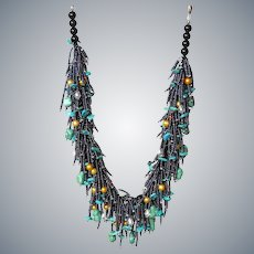 Turquoise and Golden cultured Pearl Necklace with Seed Beads, Austrian Crystals