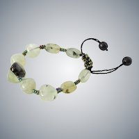 Green Rutilated Quartz with Prehnite Bracelet