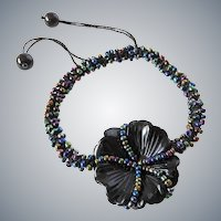 Black Onyx Carved Flower Bracelet with Multicolour Glass Seed Beads