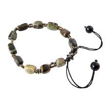 Tourmaline Gemstone Bracelet with Bronze Seed Beads, adjustable
