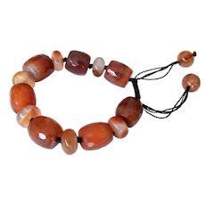 Carnelian Bracelet, Brown Orange Color Barrel and Round Shape Gemstones