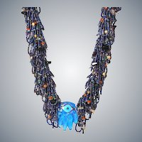 Blue Hamsa Evil Eye Necklace with multicolour Seed Beads and Golden Cultured Pearls