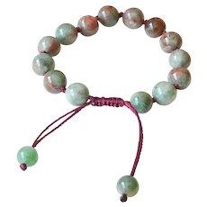 Green-Red Garnet Bracelet 1, adjustable