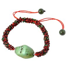 Green Turquoise Bracelet, with Red and Green Glass Seed Beads