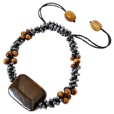 Tiger Eye Bracelet with Black Metallic Glass Seed Beads