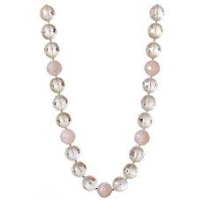 Clear Quartz Necklace with Rose Quartz