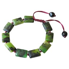 Chinese Dark Green Chrysoprase Gemstone Adjustable Bracelet