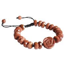 Goldstone (Monkstone) Carved Flower Adjustable Bracelet