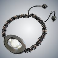 Black Agate with cultured White Pearl Bracelet