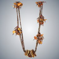 Amber Necklace with Seed Beads