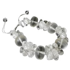 Quartz Bracelet with Crackled Clear Quartz Stones and Matte Finish Round Quartz