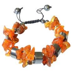 Baltic Amber Bracelet with Hematite