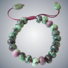 Zoisite Bracelet with Rubies