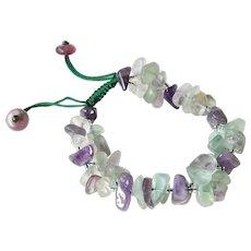 Amethyst Bracelet with Fluorite